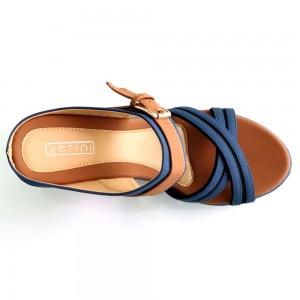 Slide On Wedges Blue