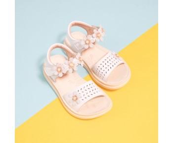 (White) Flower Sandal For Children