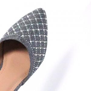 Sparkling Glitter Slip On Grey