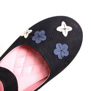 Children Casual Shoes Flower [Black]