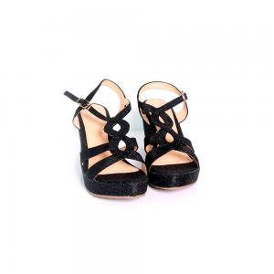 Hypershoe Glitter Ladies Wedges Black [988A323(17)]